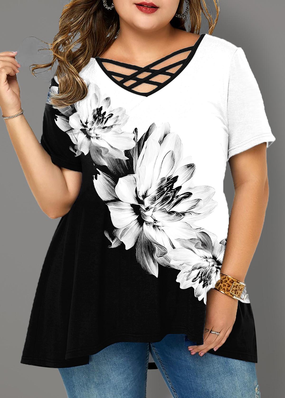 Floral Print Cross Strap Plus Size T Shirt