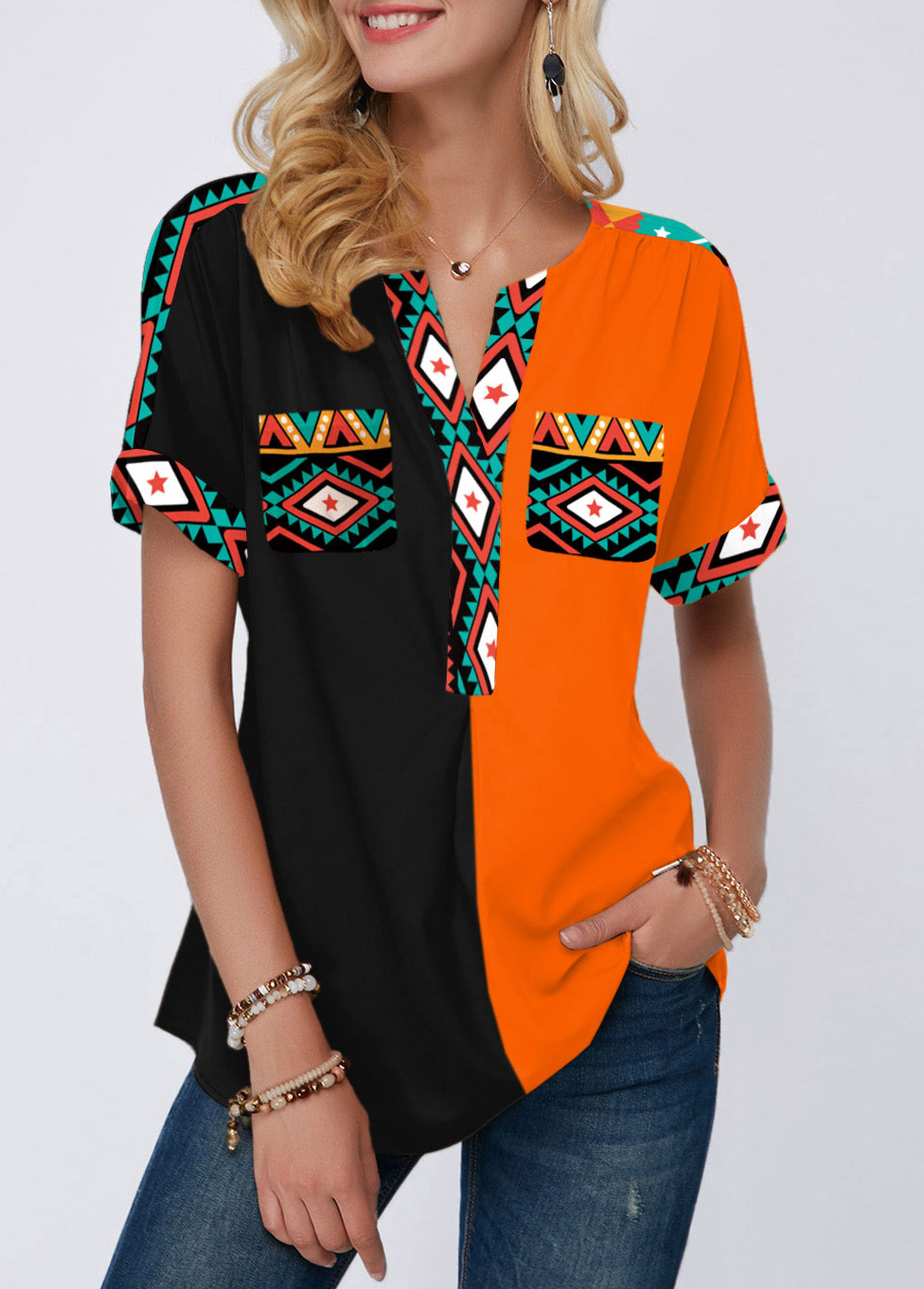 Tribal Print Short Sleeve Color Block Blouse