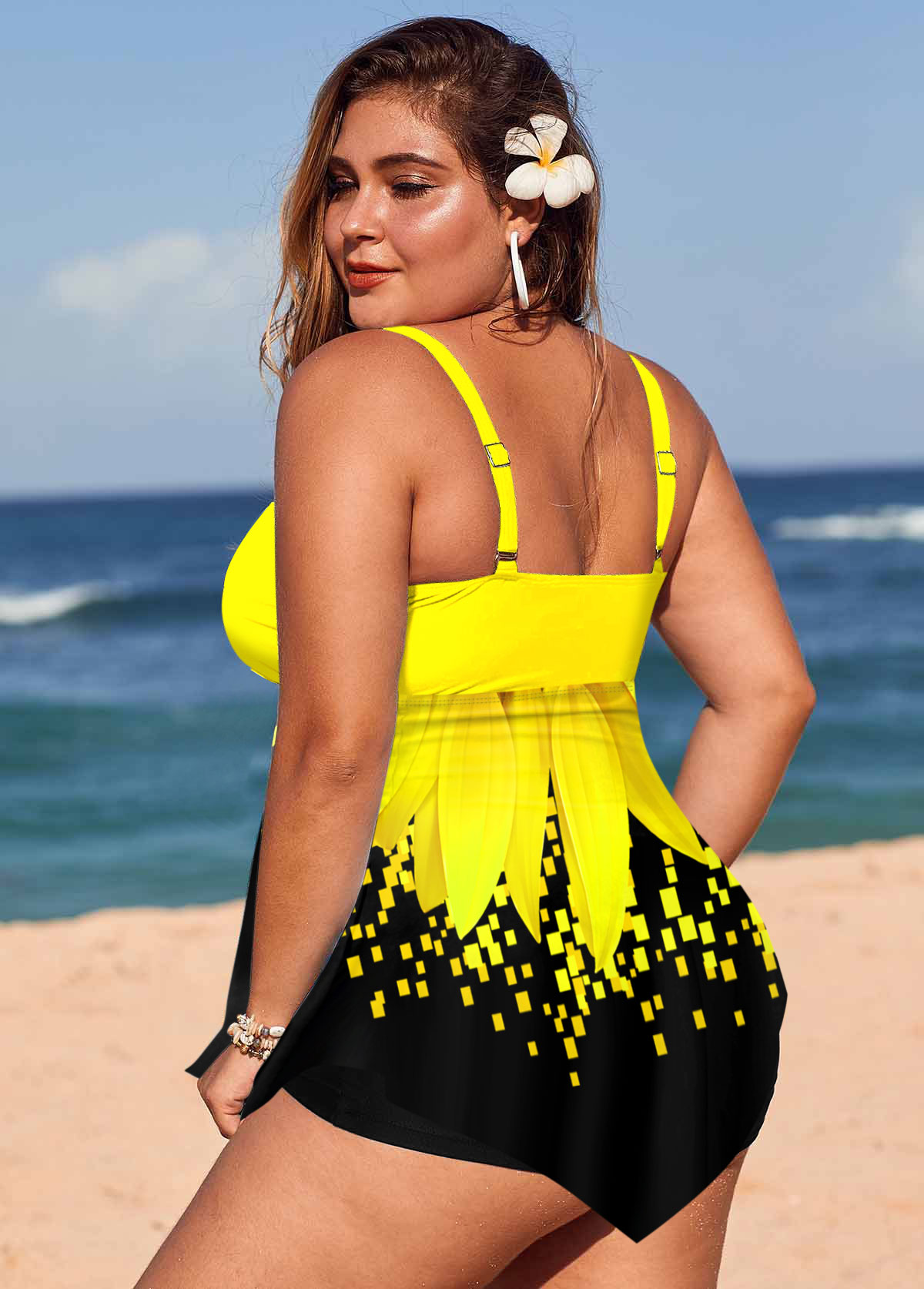 Sunflower Print Ring Detail Plus Size Swimdress and Shorts