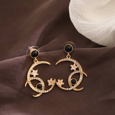 Rhinestone Embellished Crescent and Strap Shape Earring Set