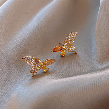 Butterfly Design Rhinestone Embellished Gold Earring Set