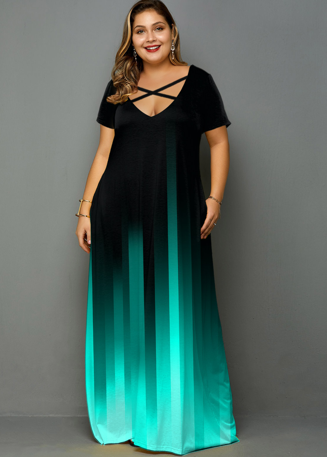 Plus Size Printed Pocket Ombre Maxi Dress