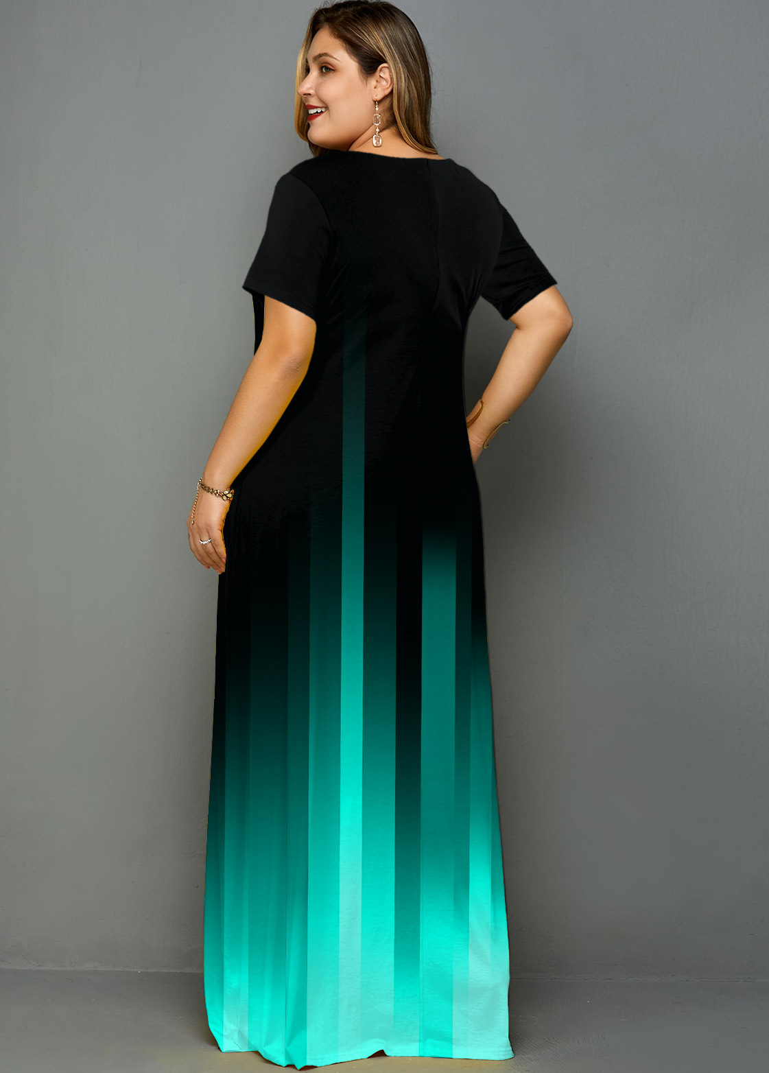 Plus Size Printed Pocket Ombre Maxi Dress