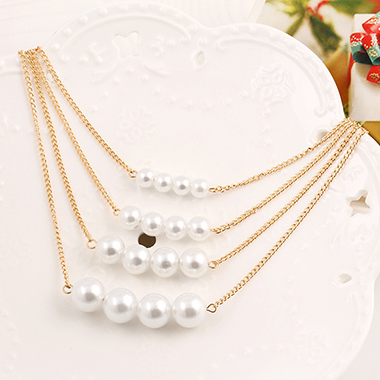 Pearl Embellished Layered Gold Metal Necklace