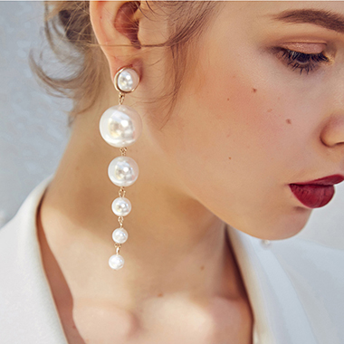 Women's White Pearl Earring Set