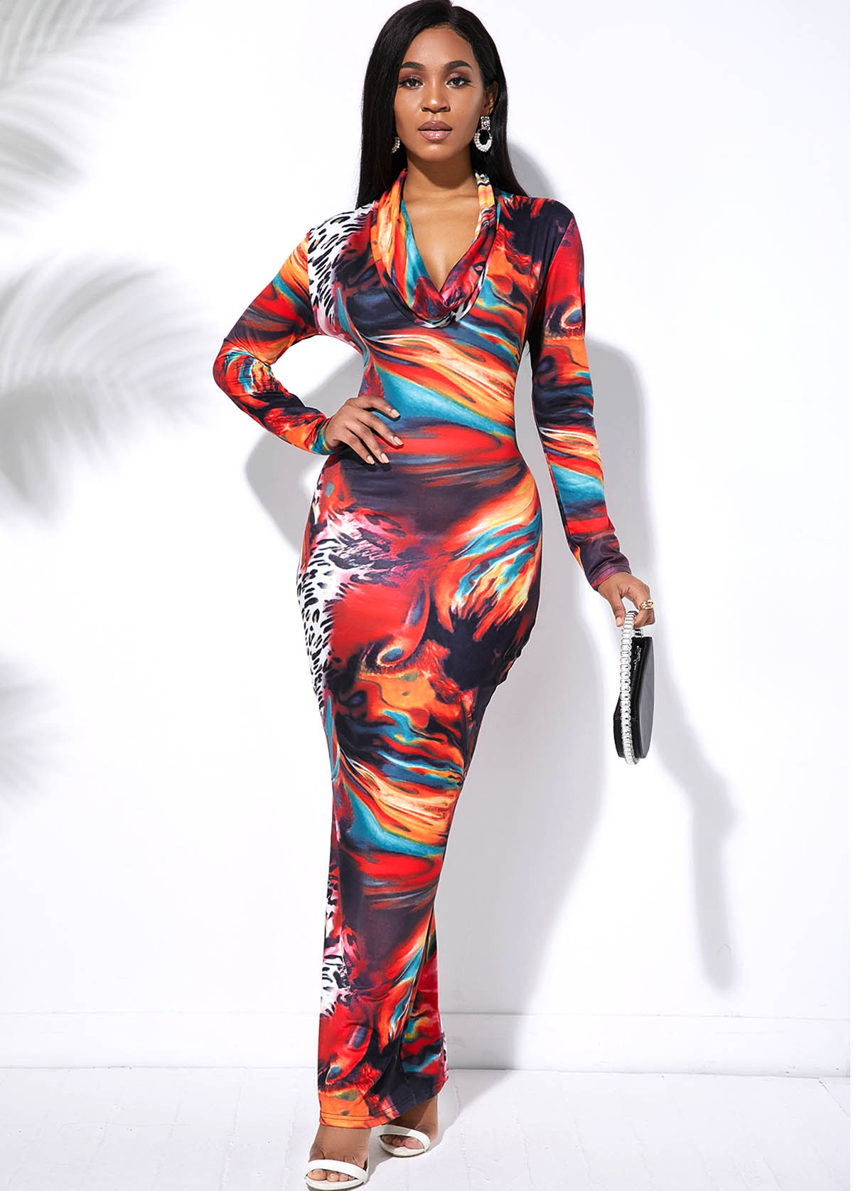 Multi Color Tie Dye Long Sleeve Maxi Dress