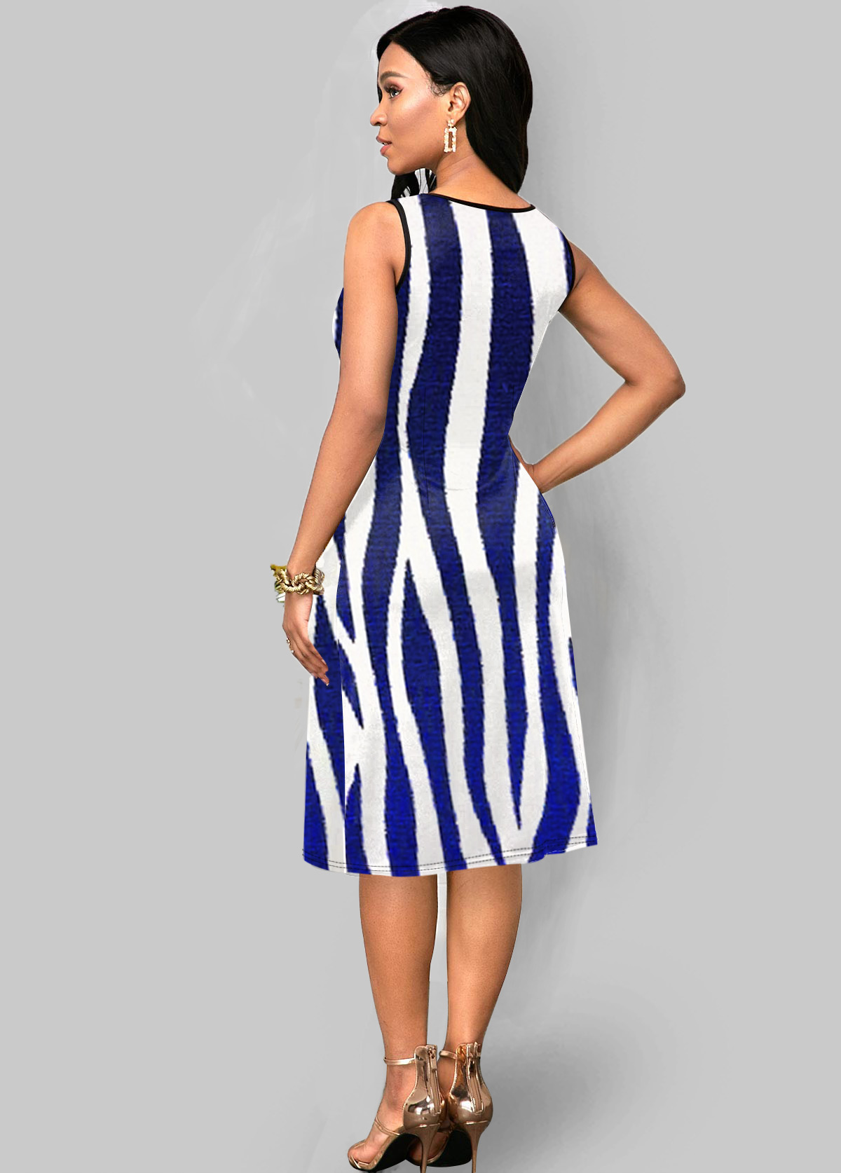 Sleeveless Zebra Print V Neck Dress