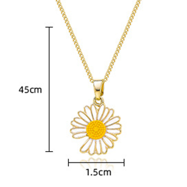 Gold Metal Chain Daisy Design Necklace