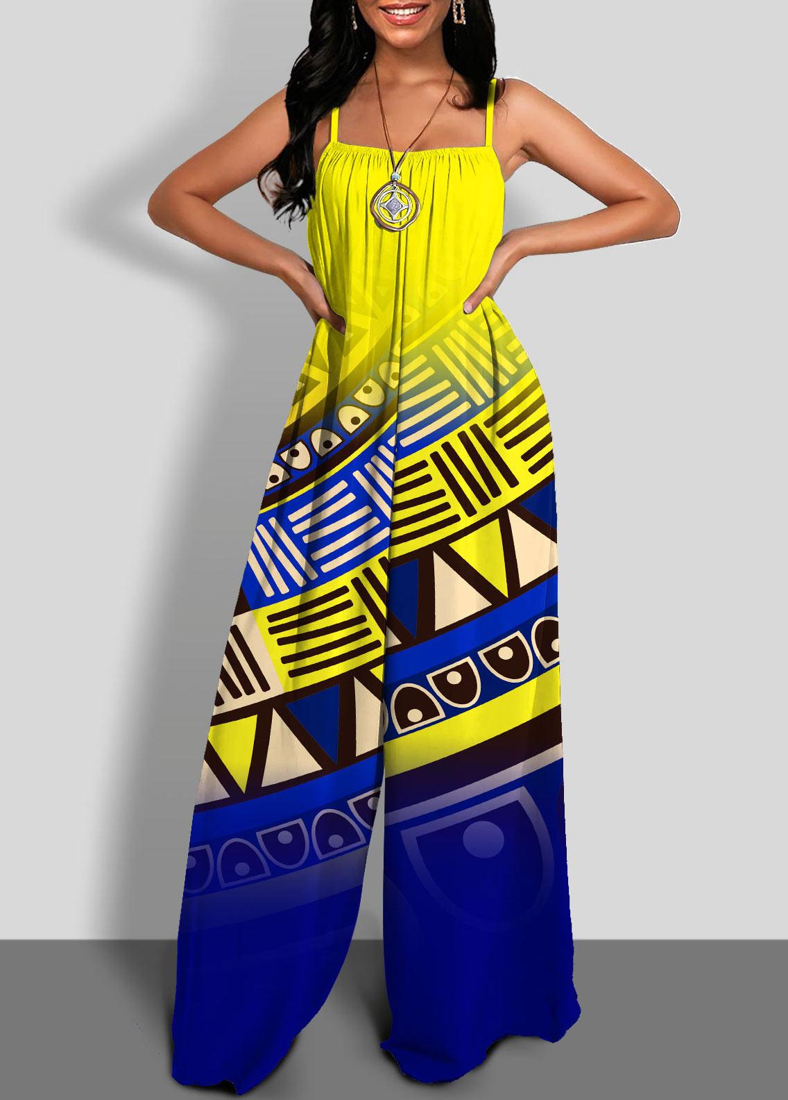 Spaghetti Strap Wide Leg Tribal Print Jumpsuit
