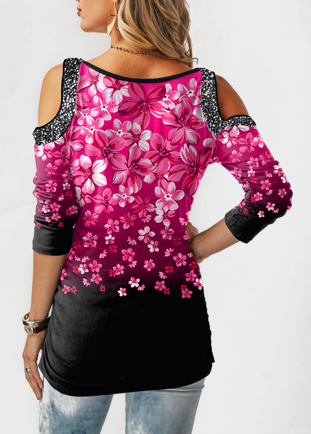 Floral Print Cold Shoulder Gradient T Shirt