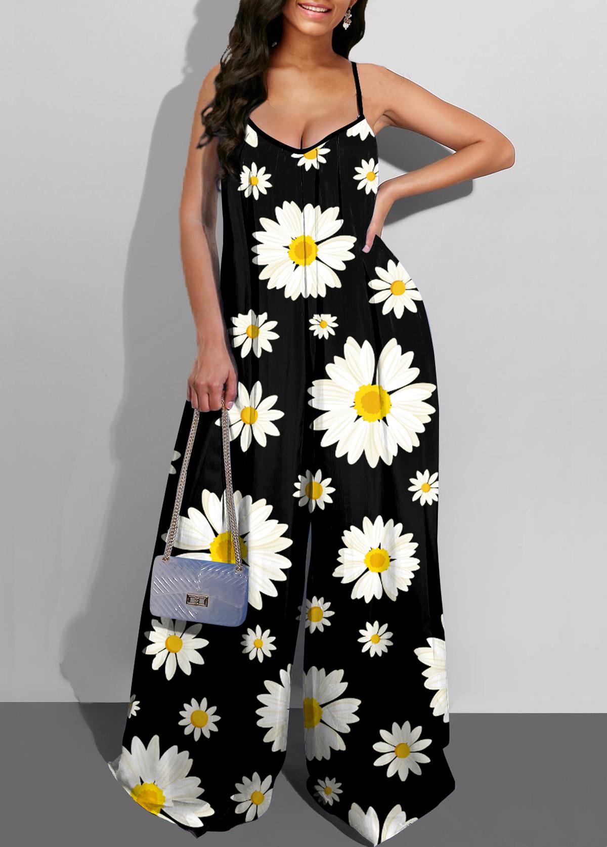 Spaghetti Strap Wide Leg Daisy Print Jumpsuit