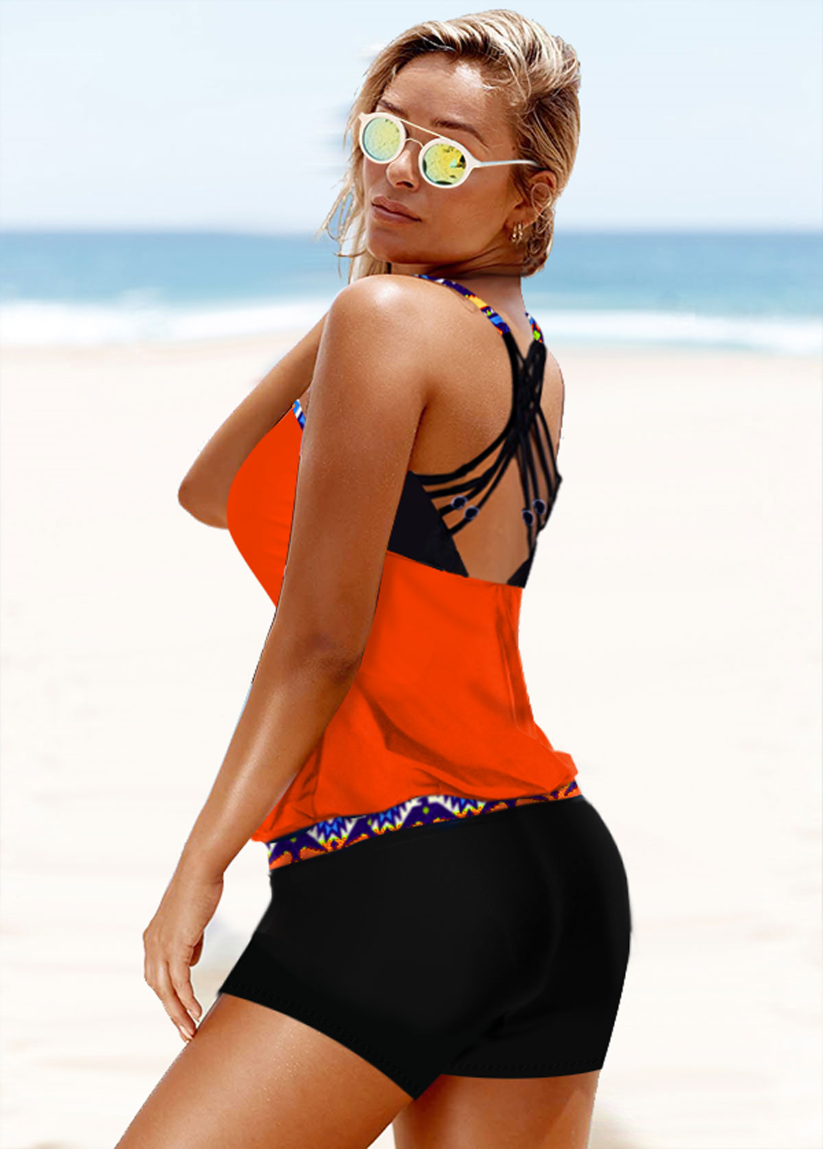 Orange Tribal Print Strappy Back Tankini Set