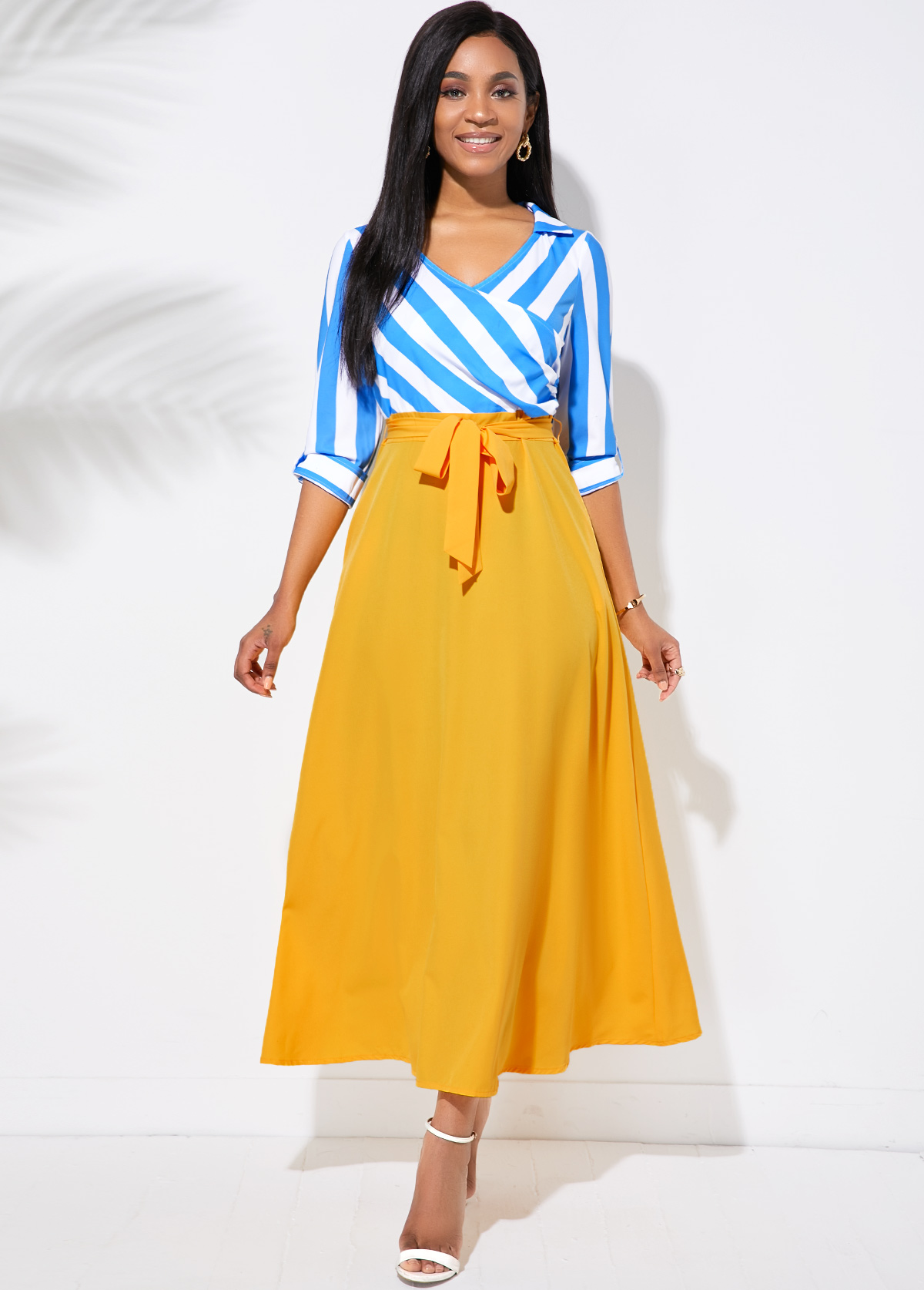 Belted Stripe Print Side Pocket Maxi Dress