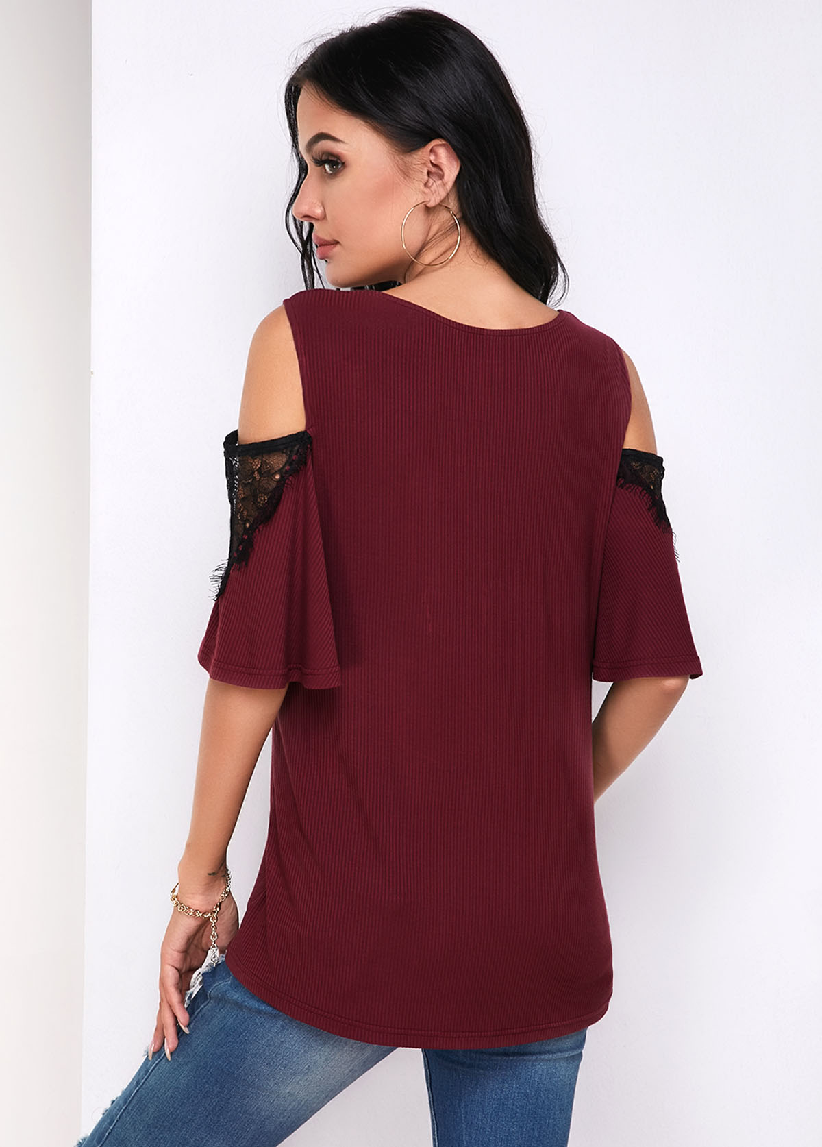 Lace Panel Flare Sleeve Cold Shoulder T Shirt