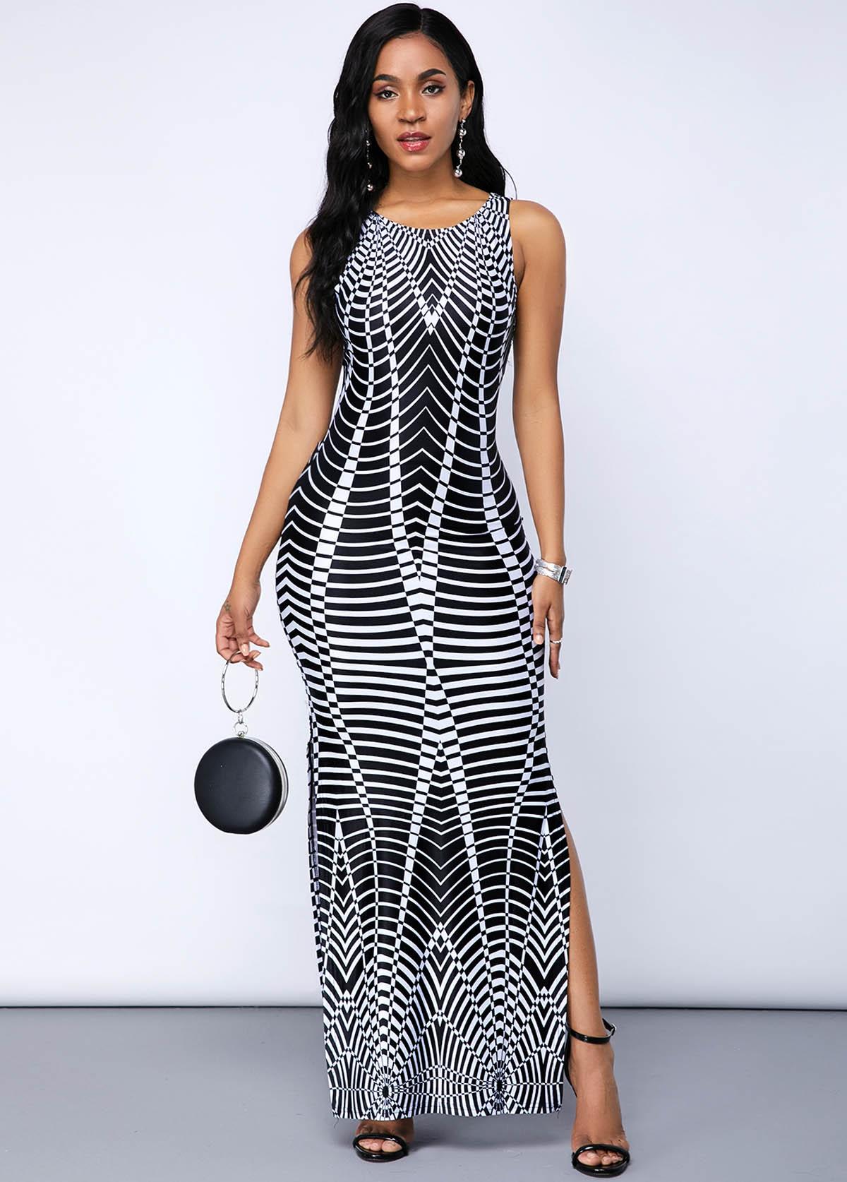 Geometric Print Split Neck Ombre Maxi Dress