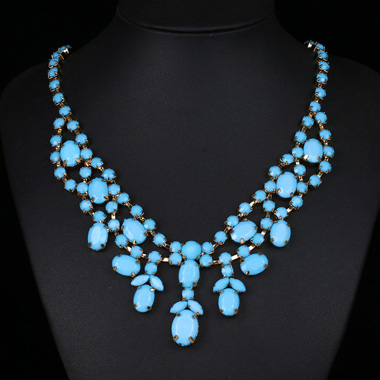 Rhinestone Embellished Blue Metal Necklace for Women