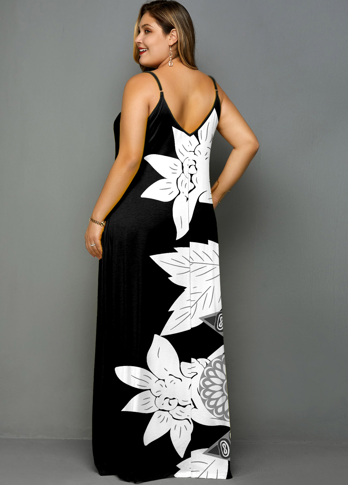 Spaghetti Strap Flower Print Plus Size Maxi Dress