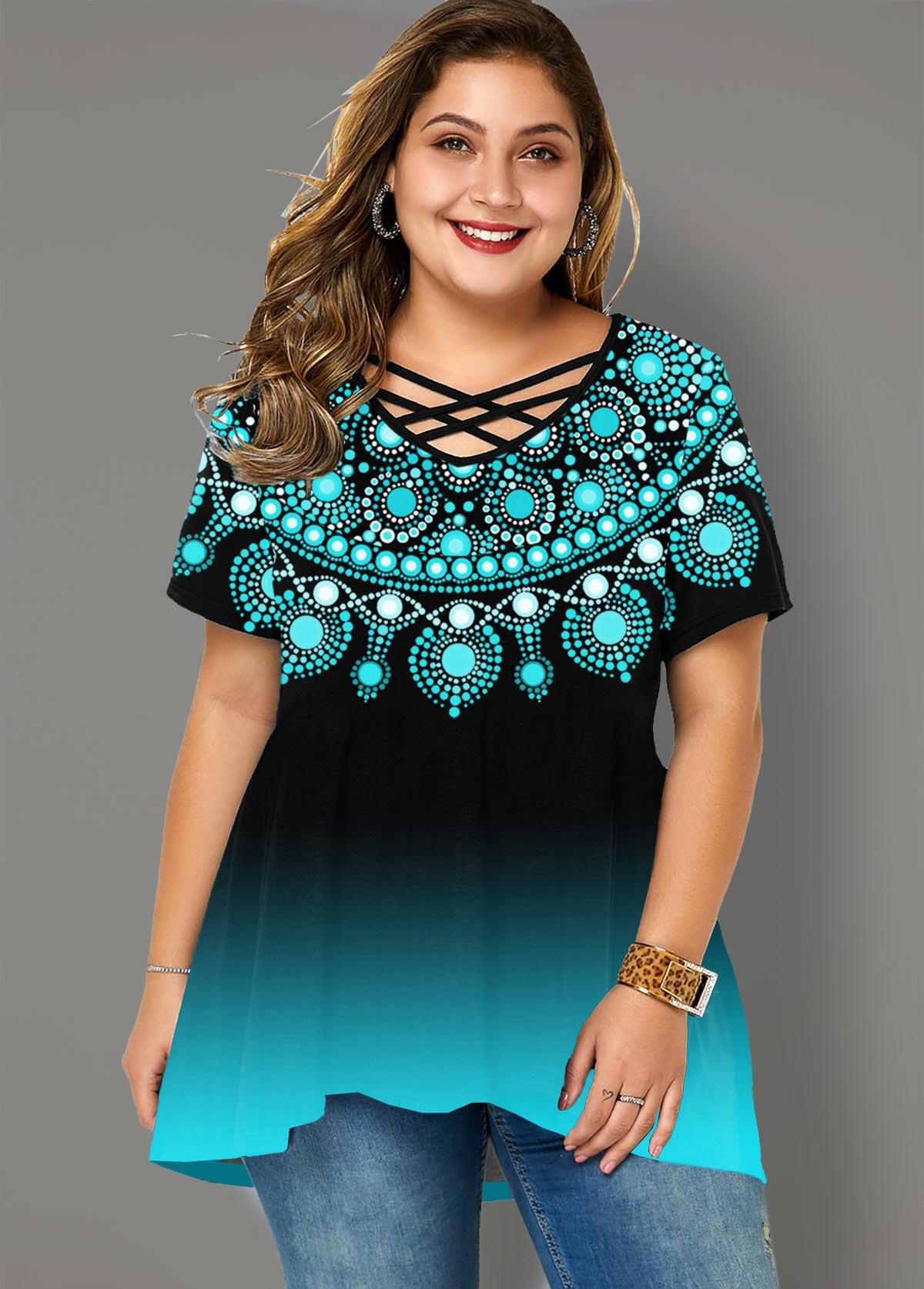 Gradient Tribal Print Plus Size T Shirt