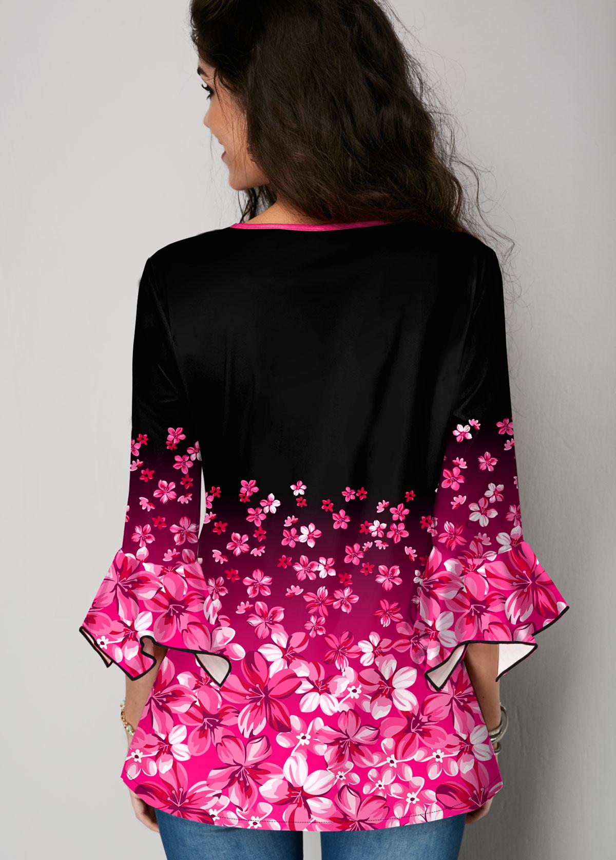 Gradient Floral Print Hanky Cuff Blouse