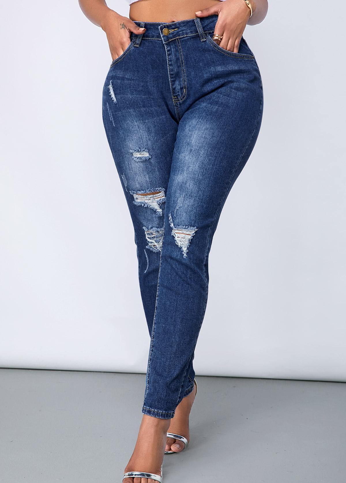 Acid Washed Shredded Slant Pocket Jeans