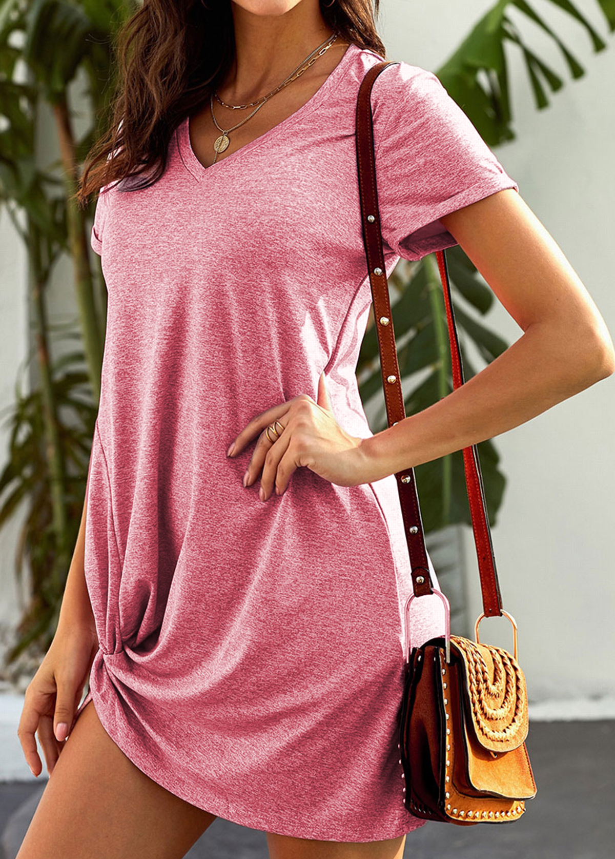 Pink Knotted Hem Short Sleeve Dress