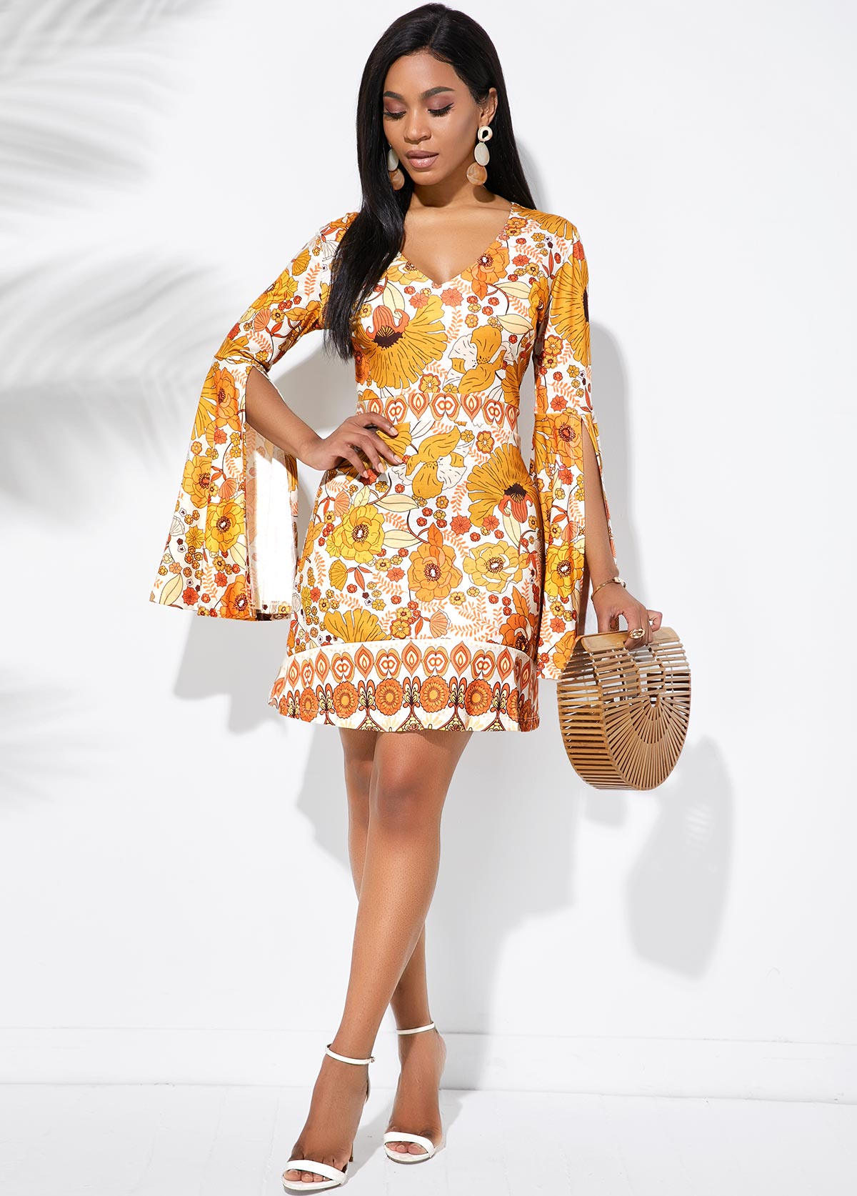 V Neck Flare Sleeve Tribal Print Dress