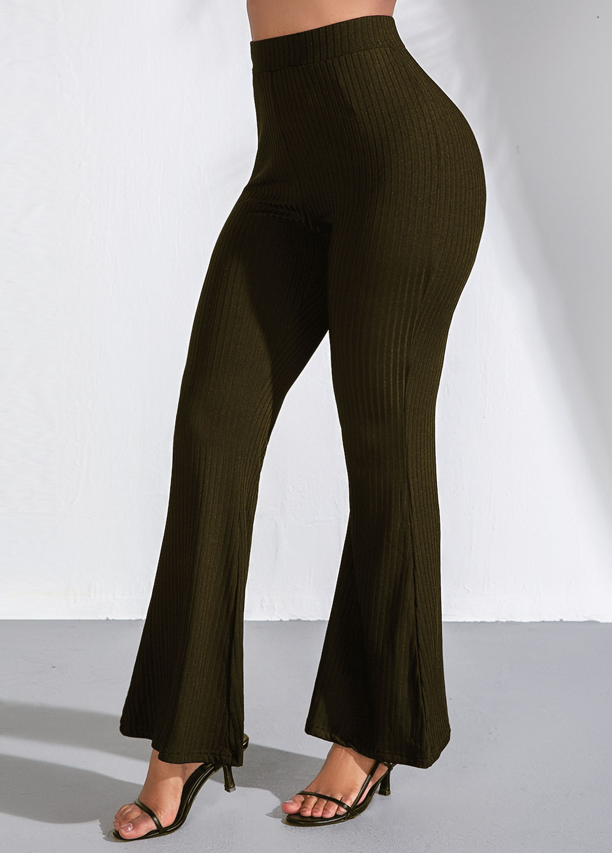 Elastic Waist Dark Green Flare Pants