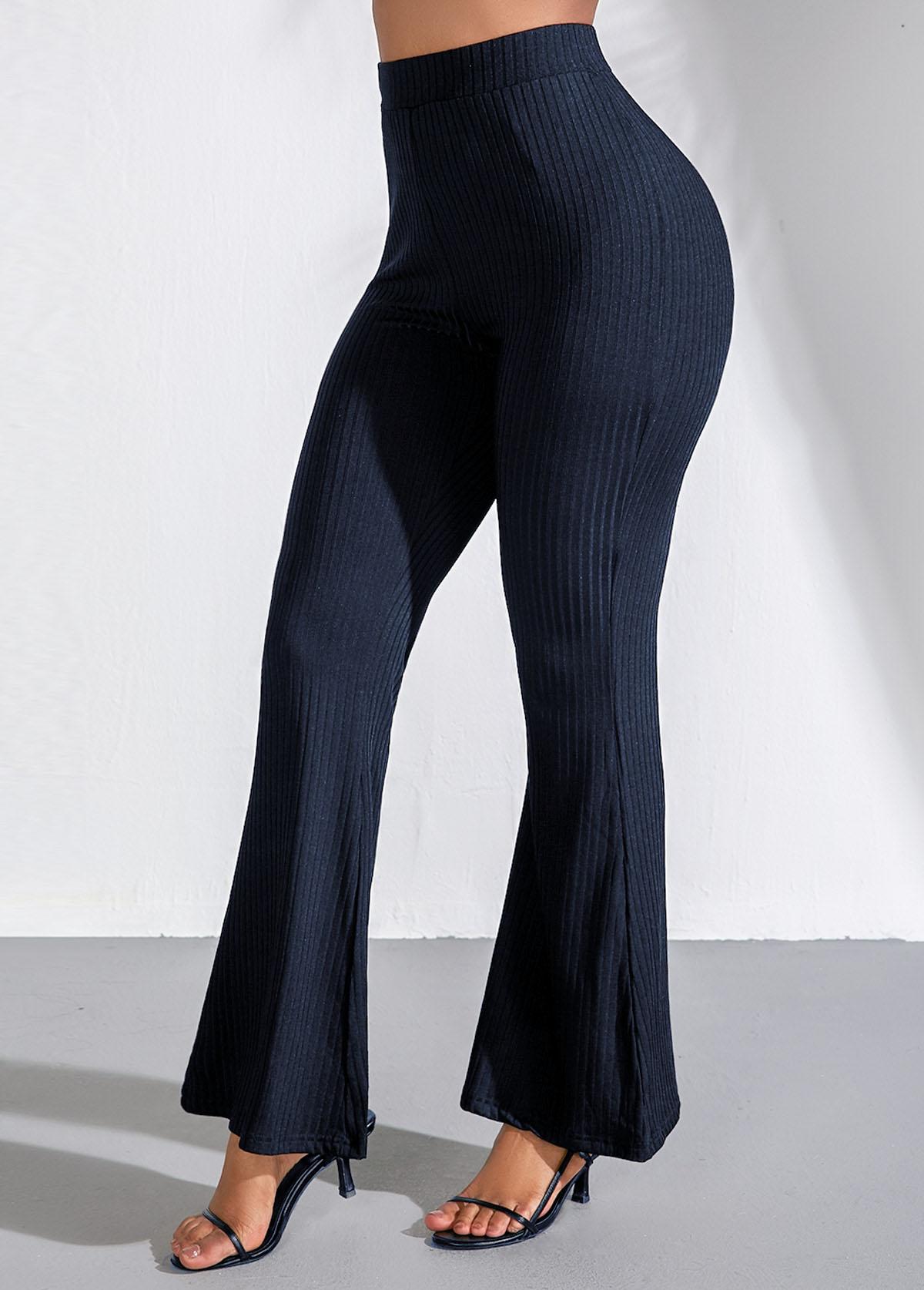 Elastic Waist Navy Blue Flare Pants