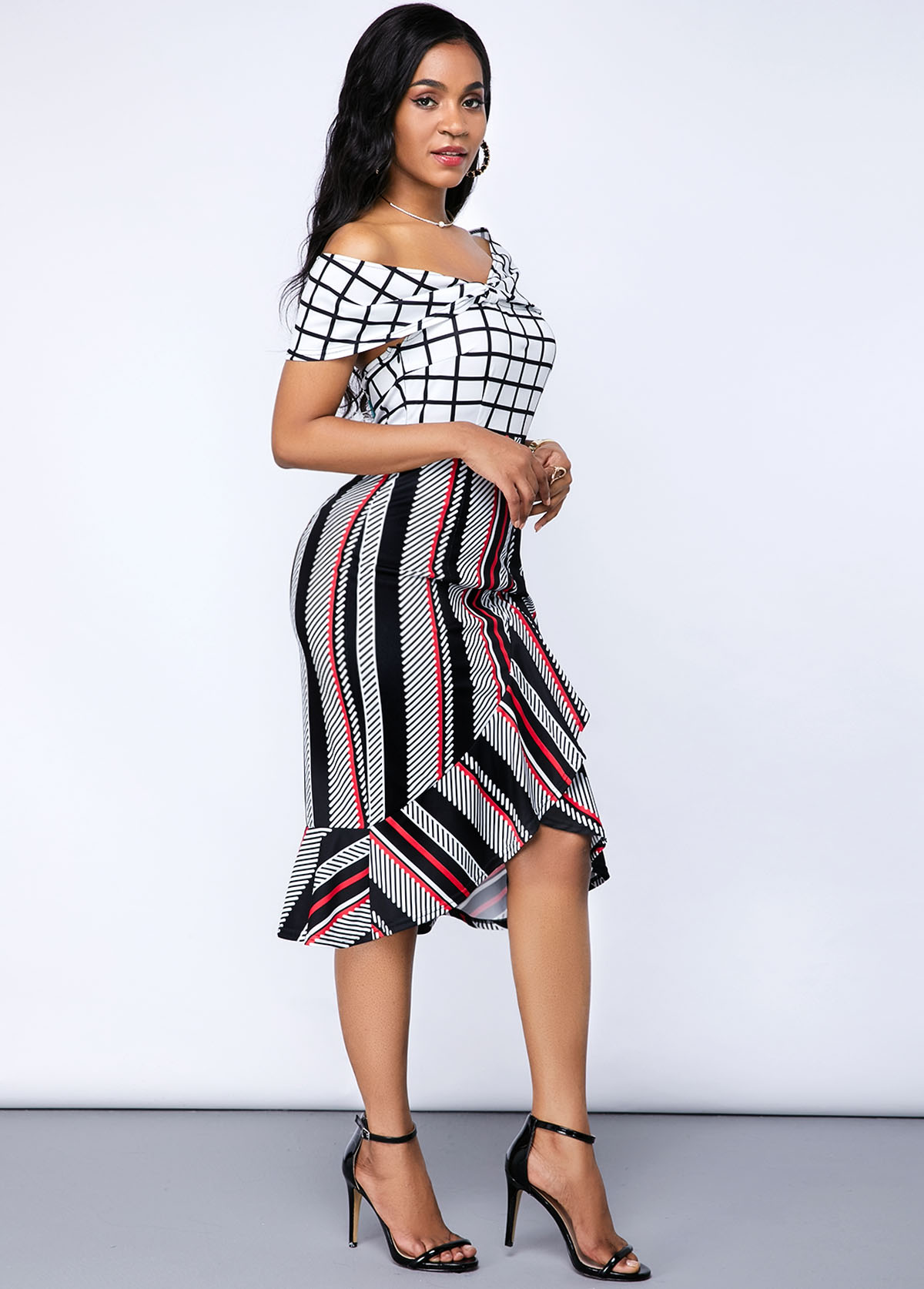 Ruffle Hem Short Sleeve Stripe Print Dress