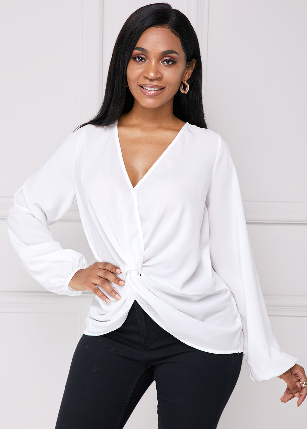 Tie Back Long Sleeve Knotted Hem Blouse