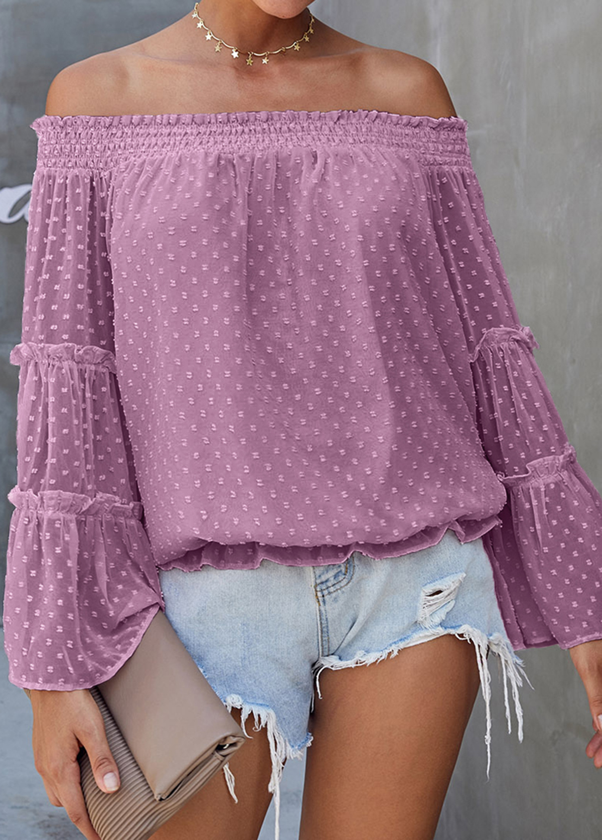 Off the Shoulder Flare Sleeve Purple Blouse