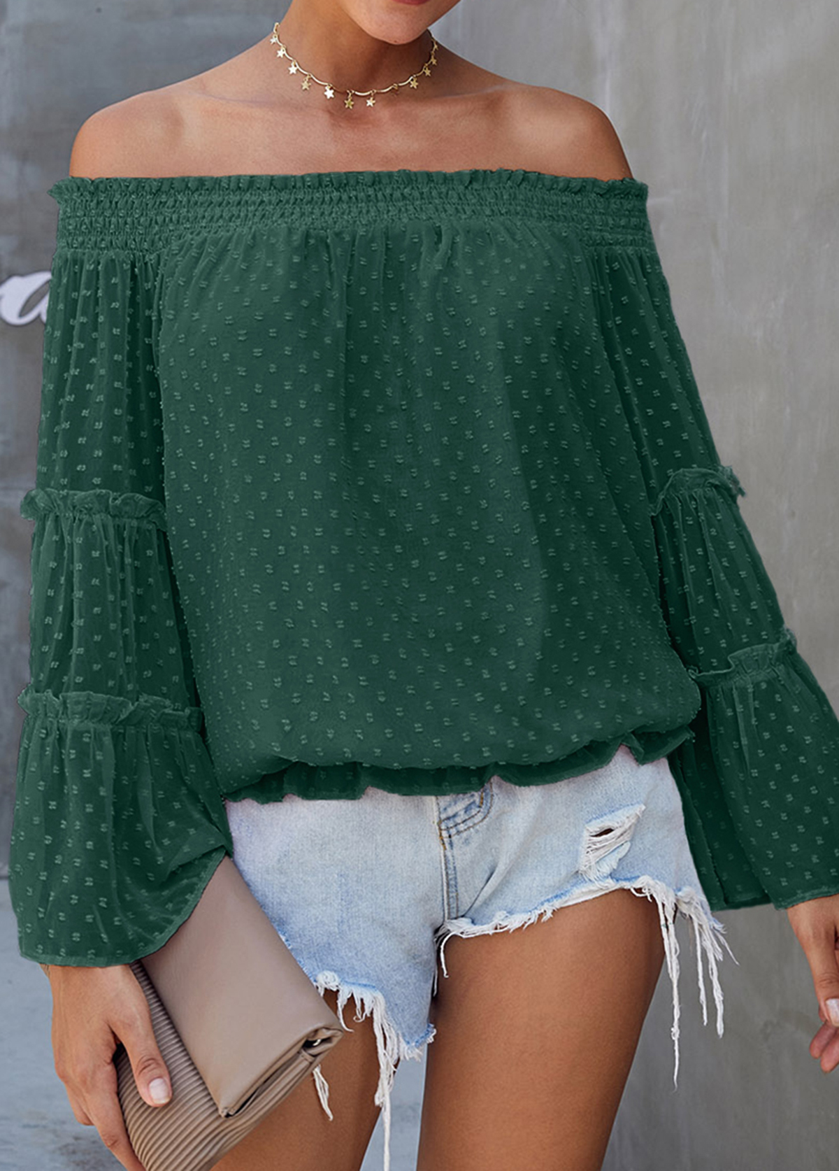 Dark Green Off the Shoulder Flare Sleeve Blouse