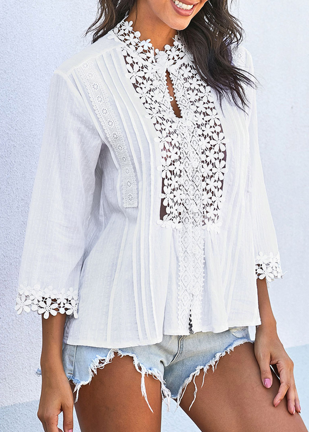 Crinkle Chest Three Quarter Sleeve Lace Panel T Shirt