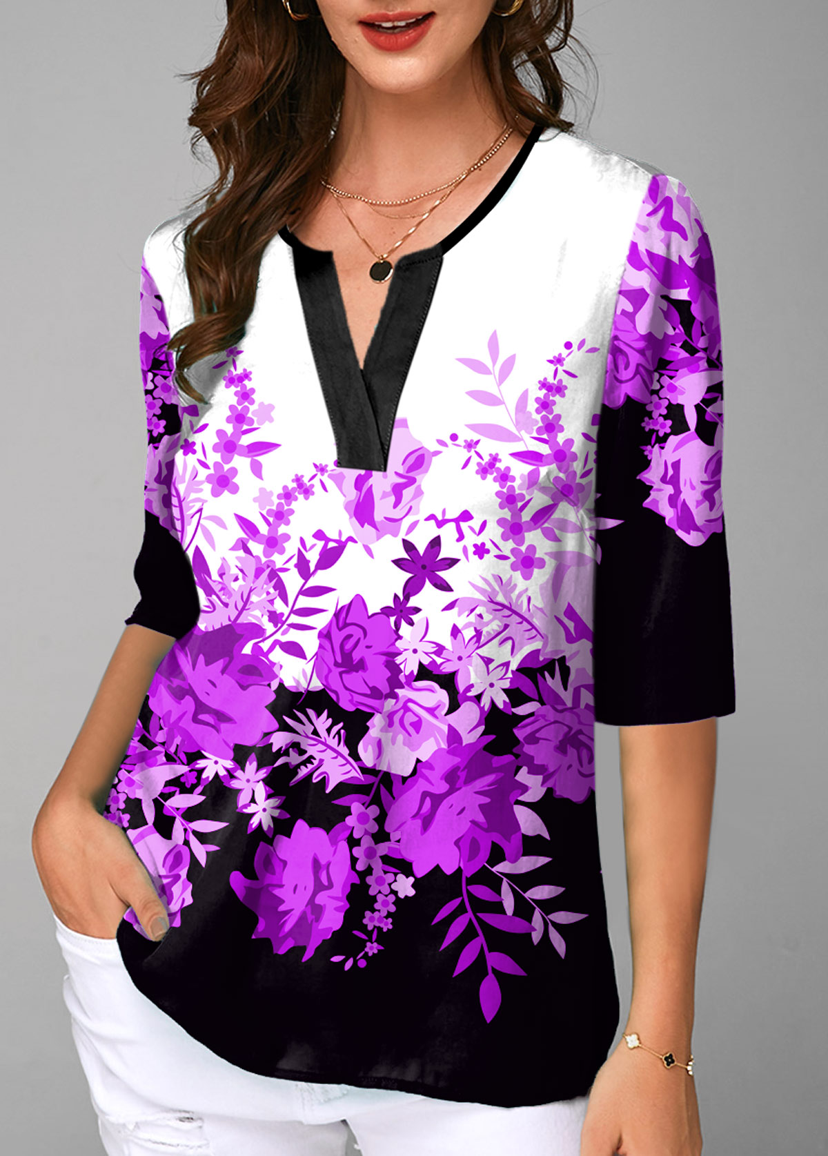 Half Sleeve Floral Print Split Neck Blouse