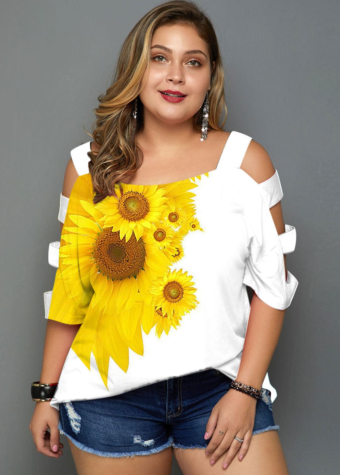 Sunflower Print Ladder Cutout Plus Size Tunic Top