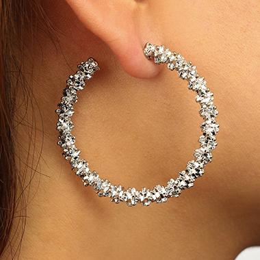 Circle Shape Silver Metal Earring Set for Women