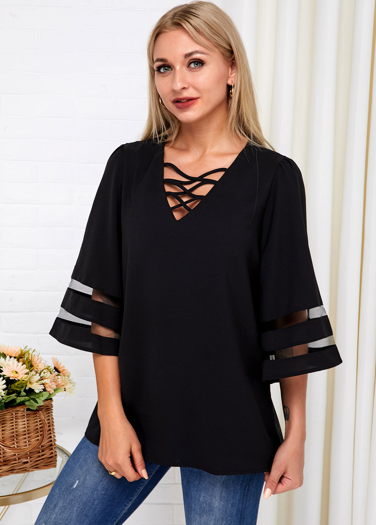 Black Lace Up Flare Sleeve T Shirt
