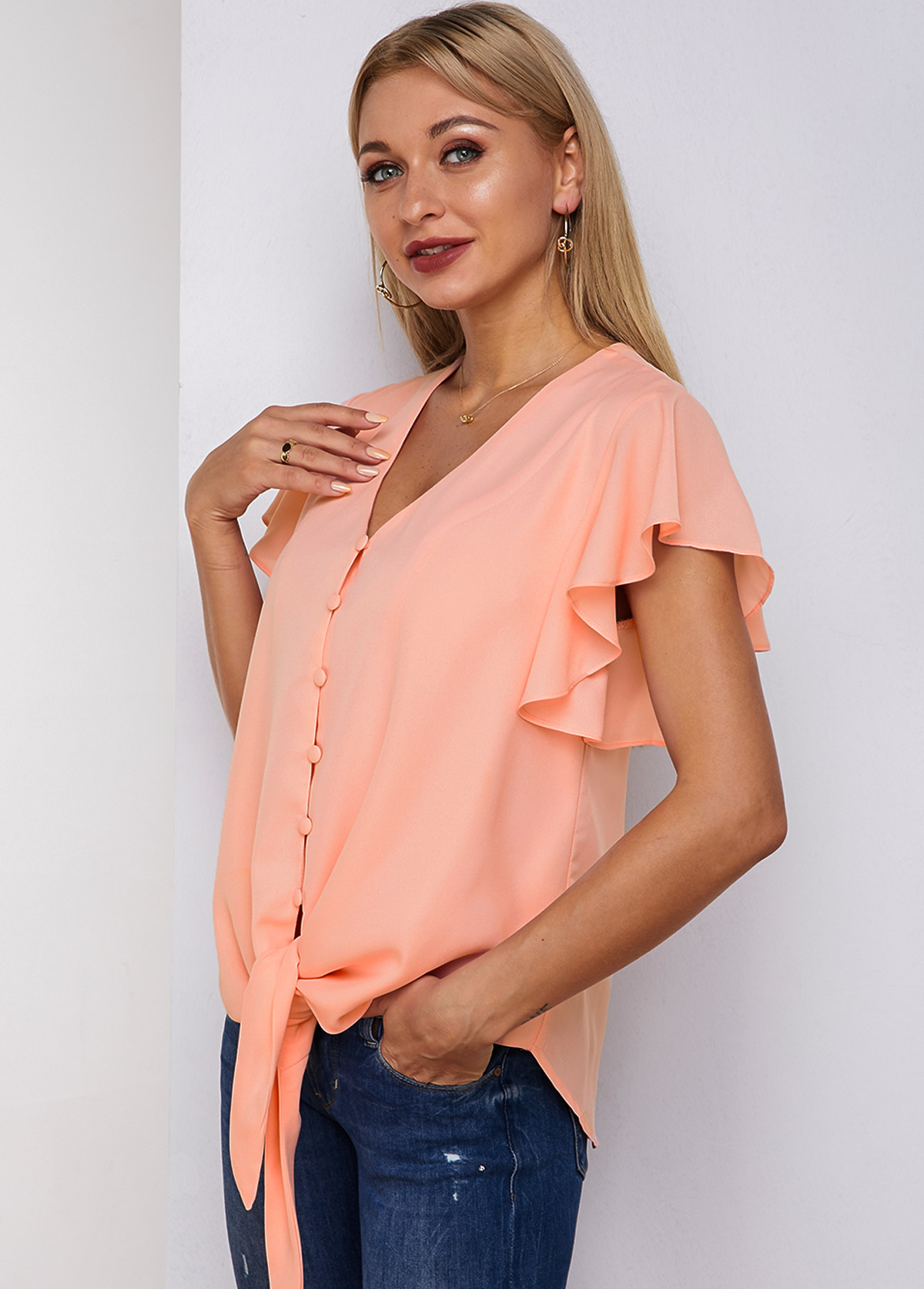 Butterfly Sleeve Button Up Knotted Hem Blouse