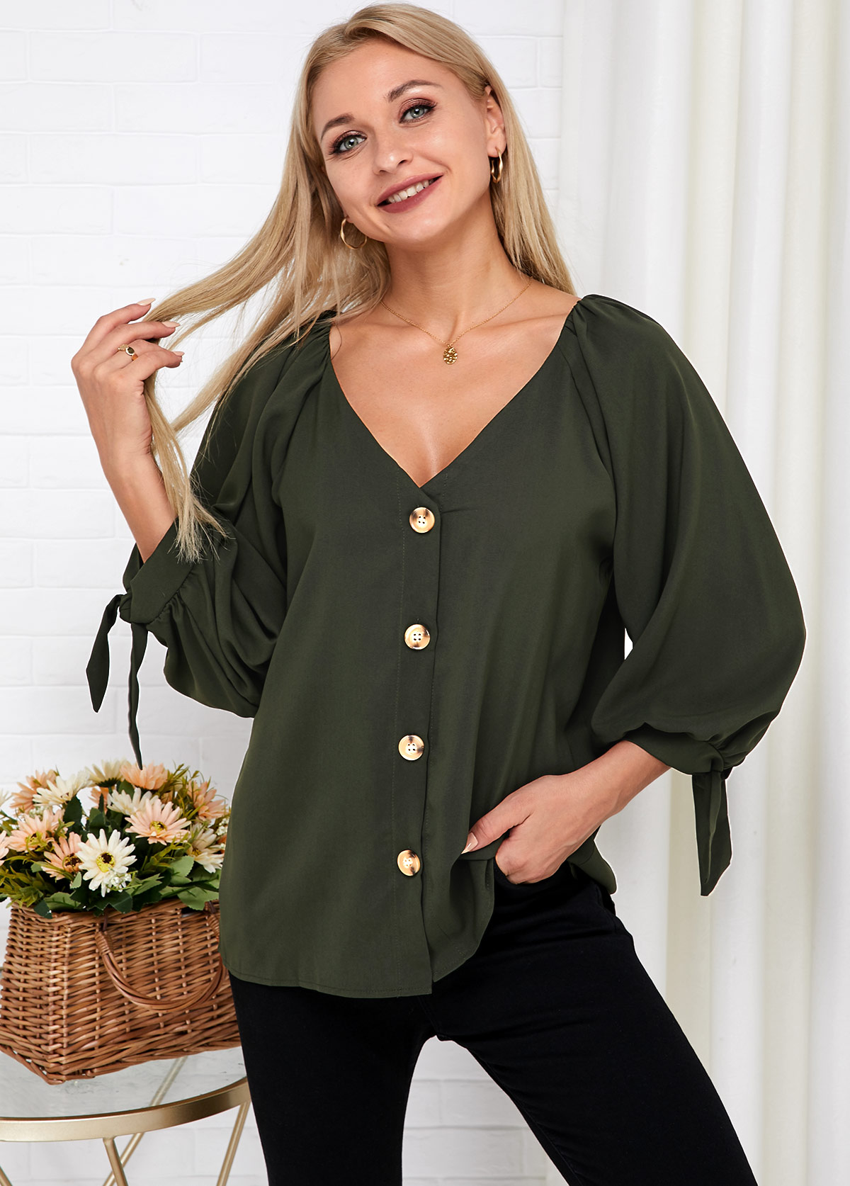 V Neck Knotted Cuff Button Up Blouse