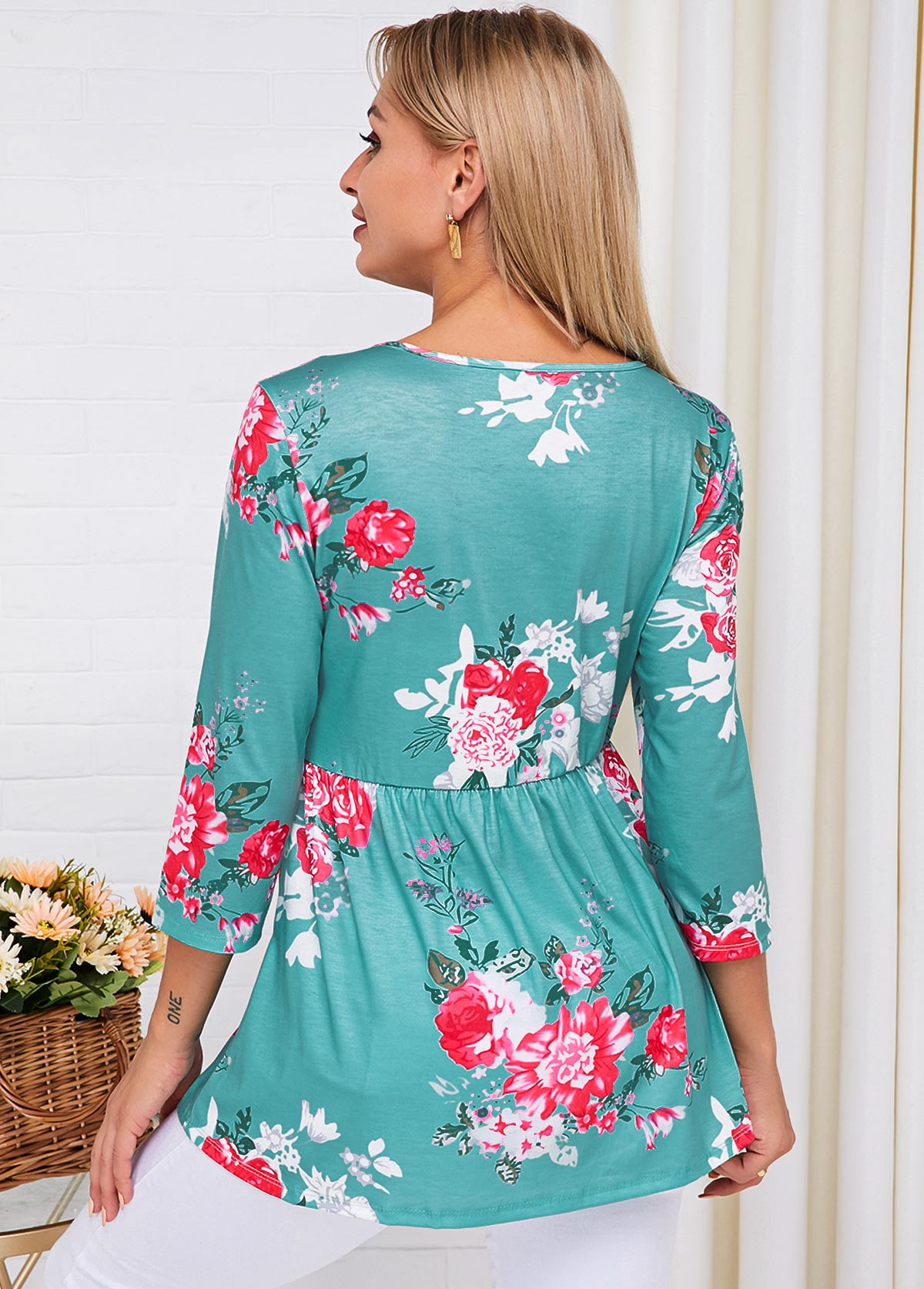 Three Quarter Sleeve Floral Print Lace Up T Shirt