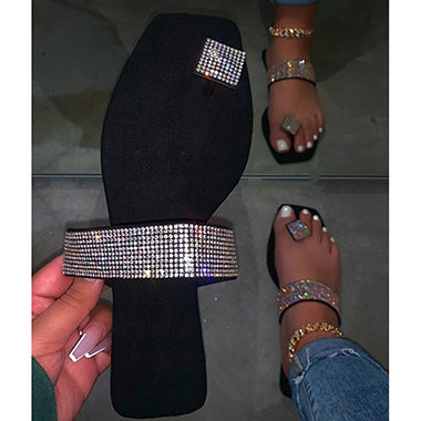 Rhinestone Embellished Black Slippers for Lady