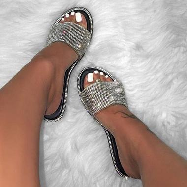 Black 1 Pair Rhinestone Embellished Slippers