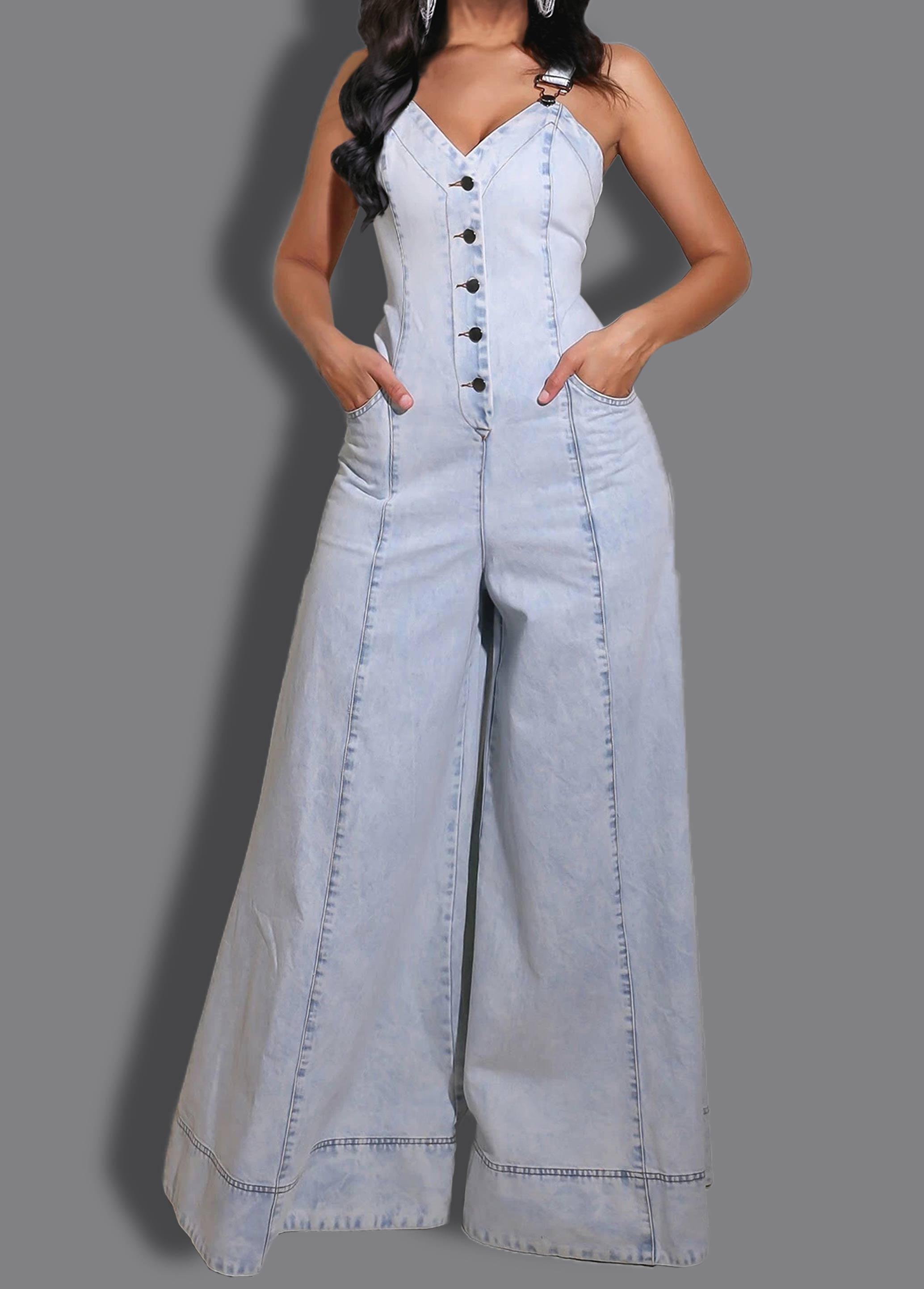 Button Up Side Pocket Spaghetti Strap Denim Jumpsuit