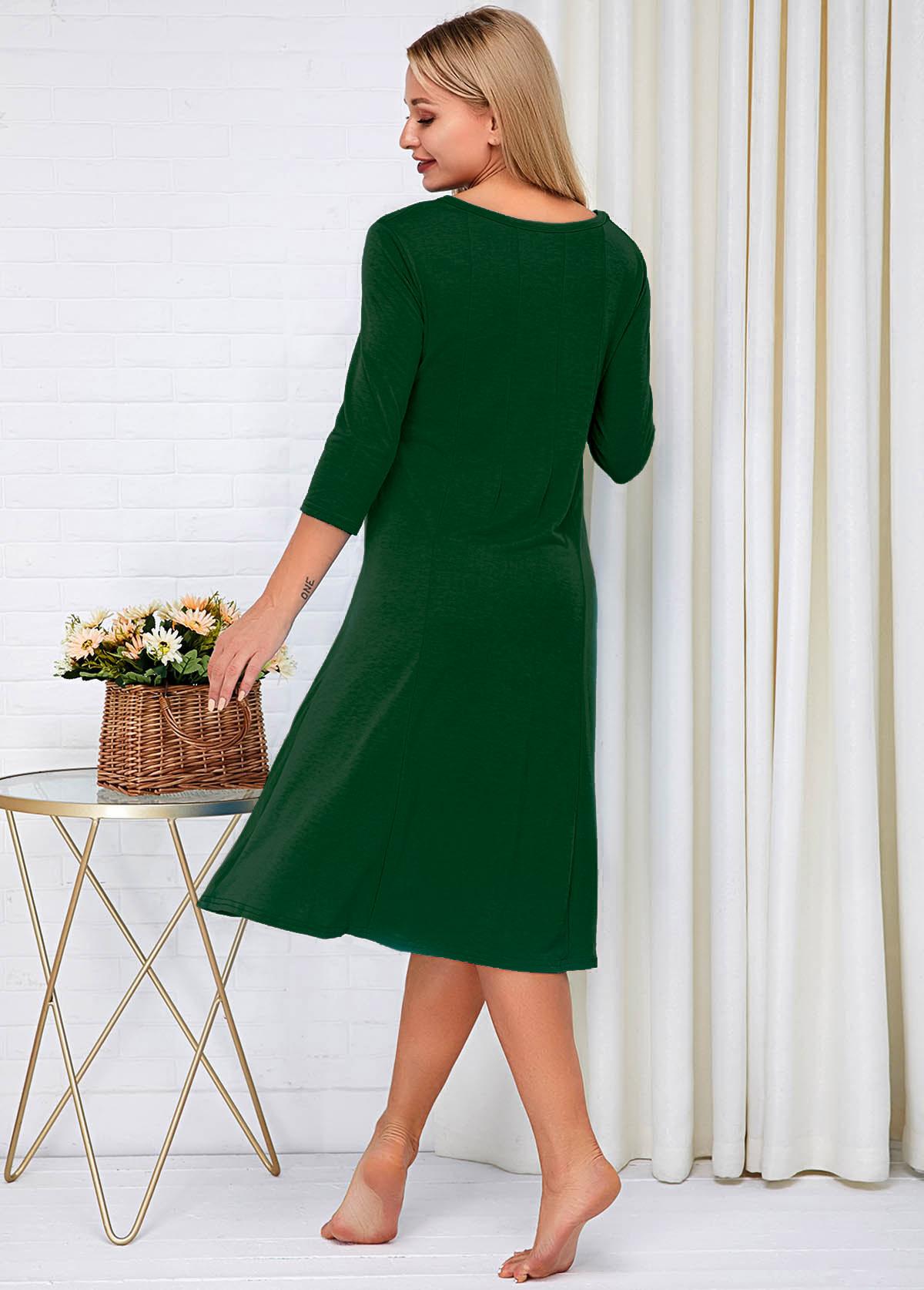 Round Neck Three Quarter Sleeve Green Dress