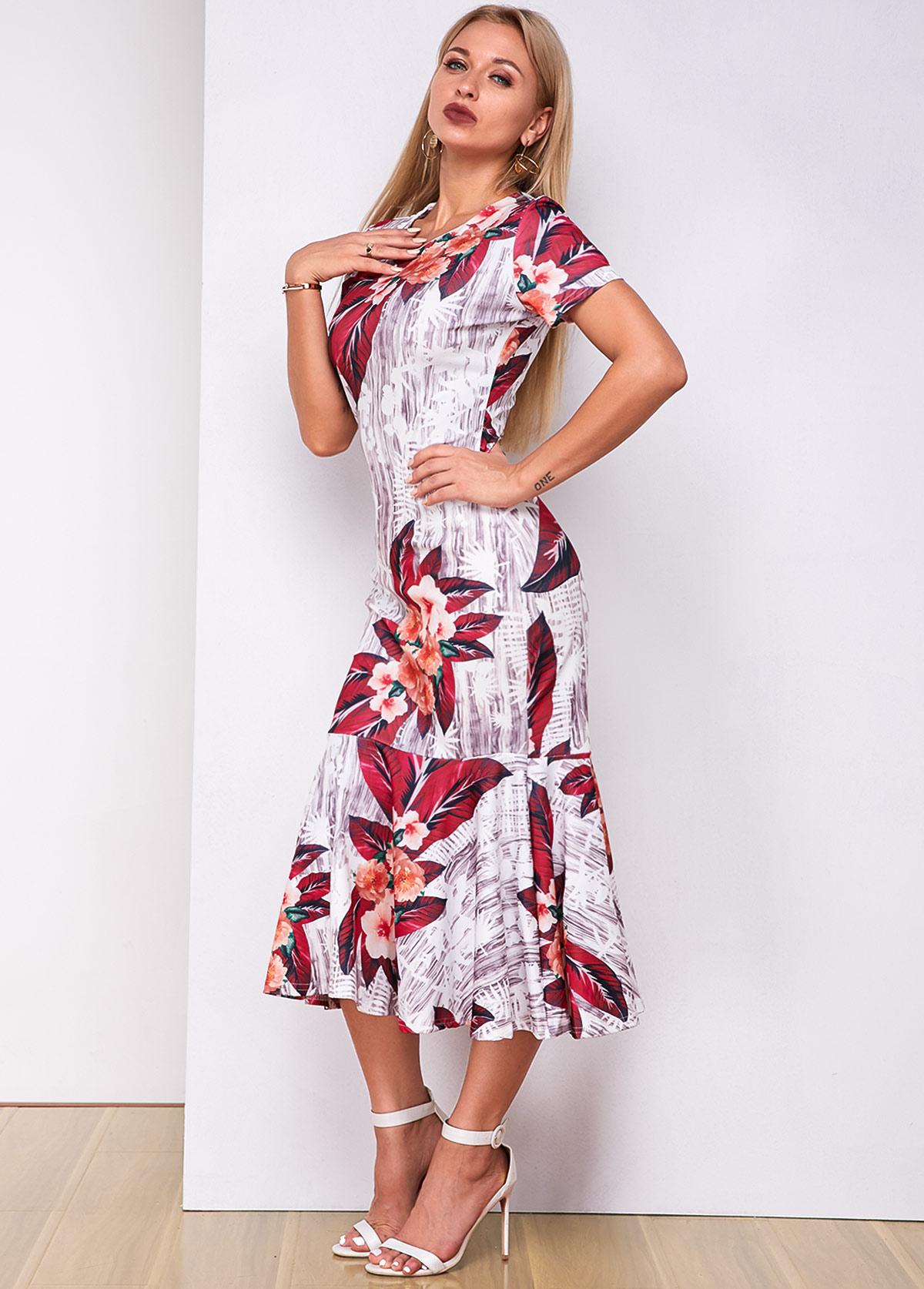 Floral Print Short Sleeve Mermaid Dress