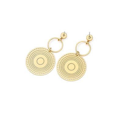 Circle Design Gold Metal Tribal Earring Set for Women
