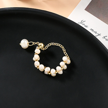 Pearl Embellished Gold Metal Ring for Lady