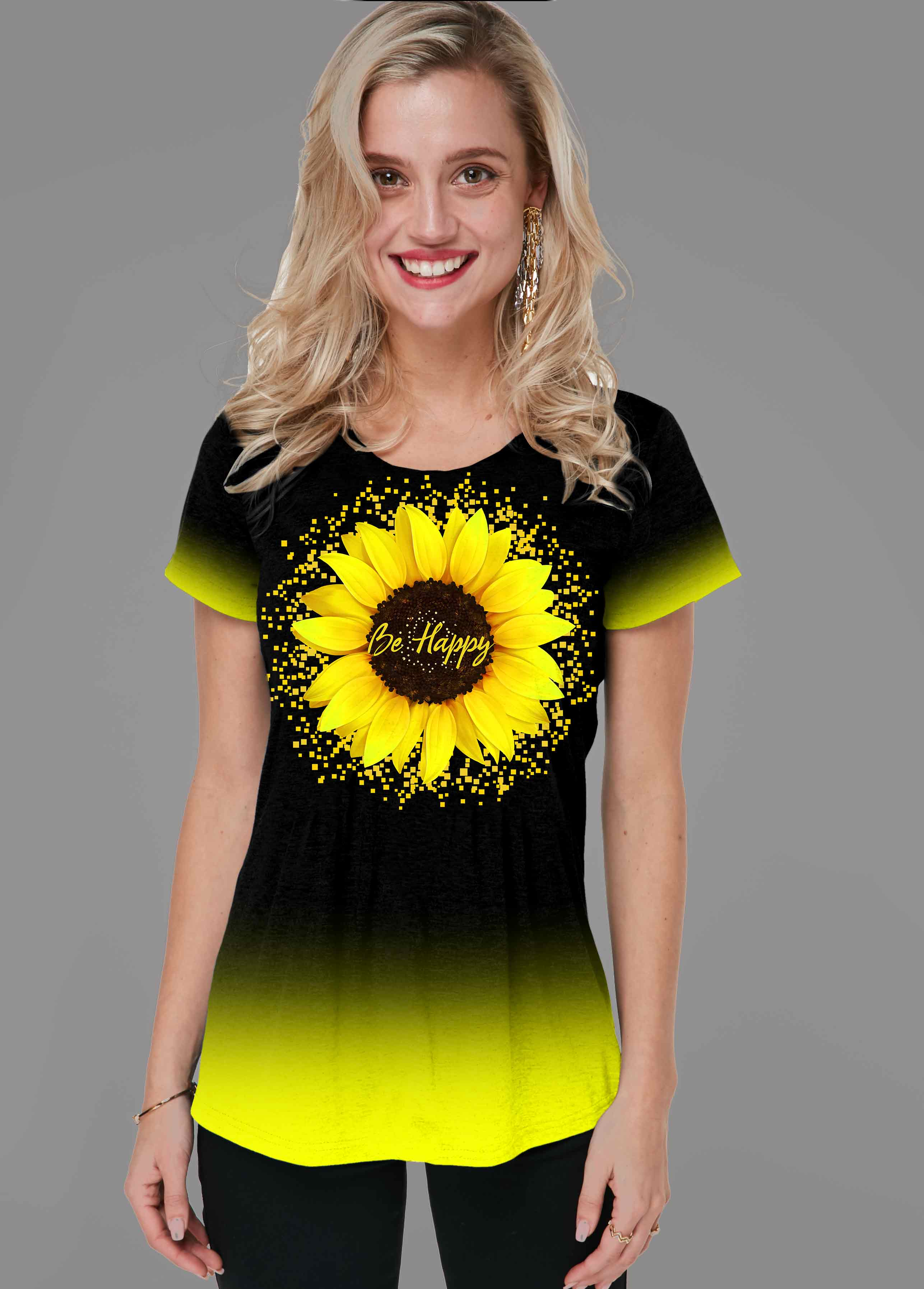 Short Sleeve Sunflower Print Gradient T Shirt
