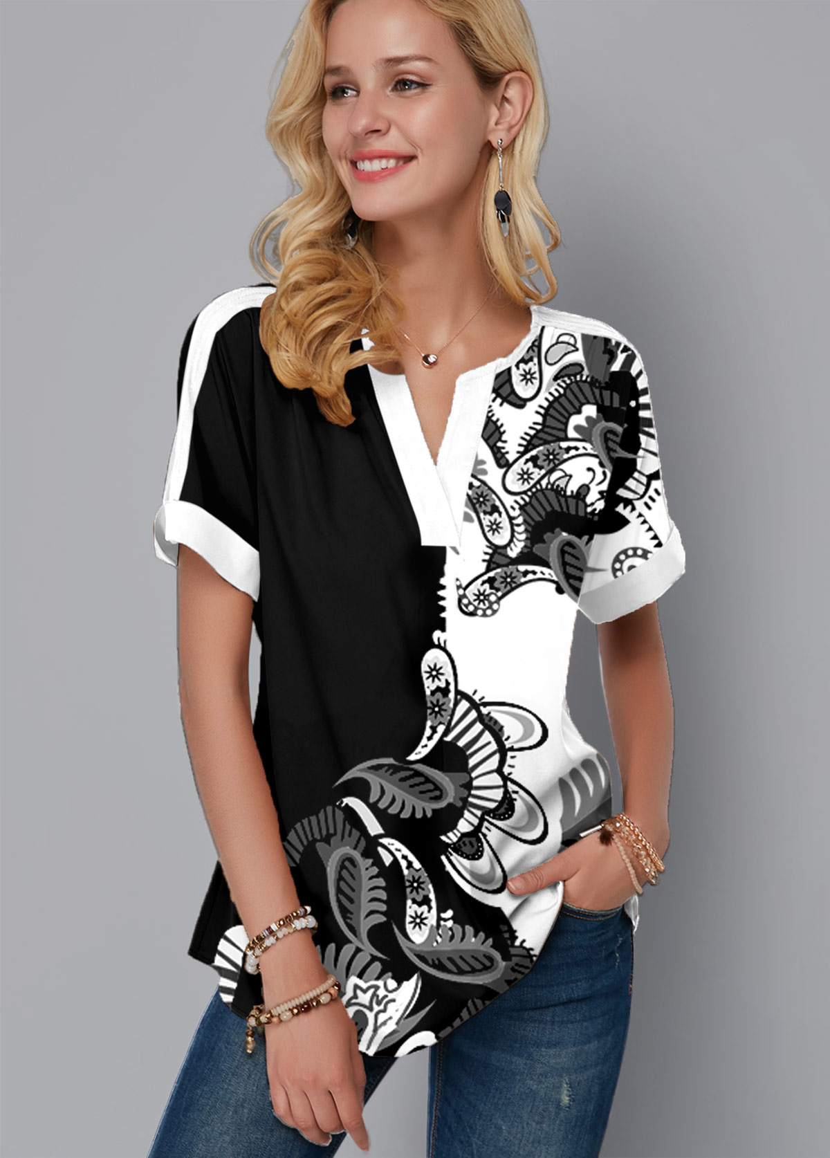 Split Neck Short Sleeve Paisley Print Blouse