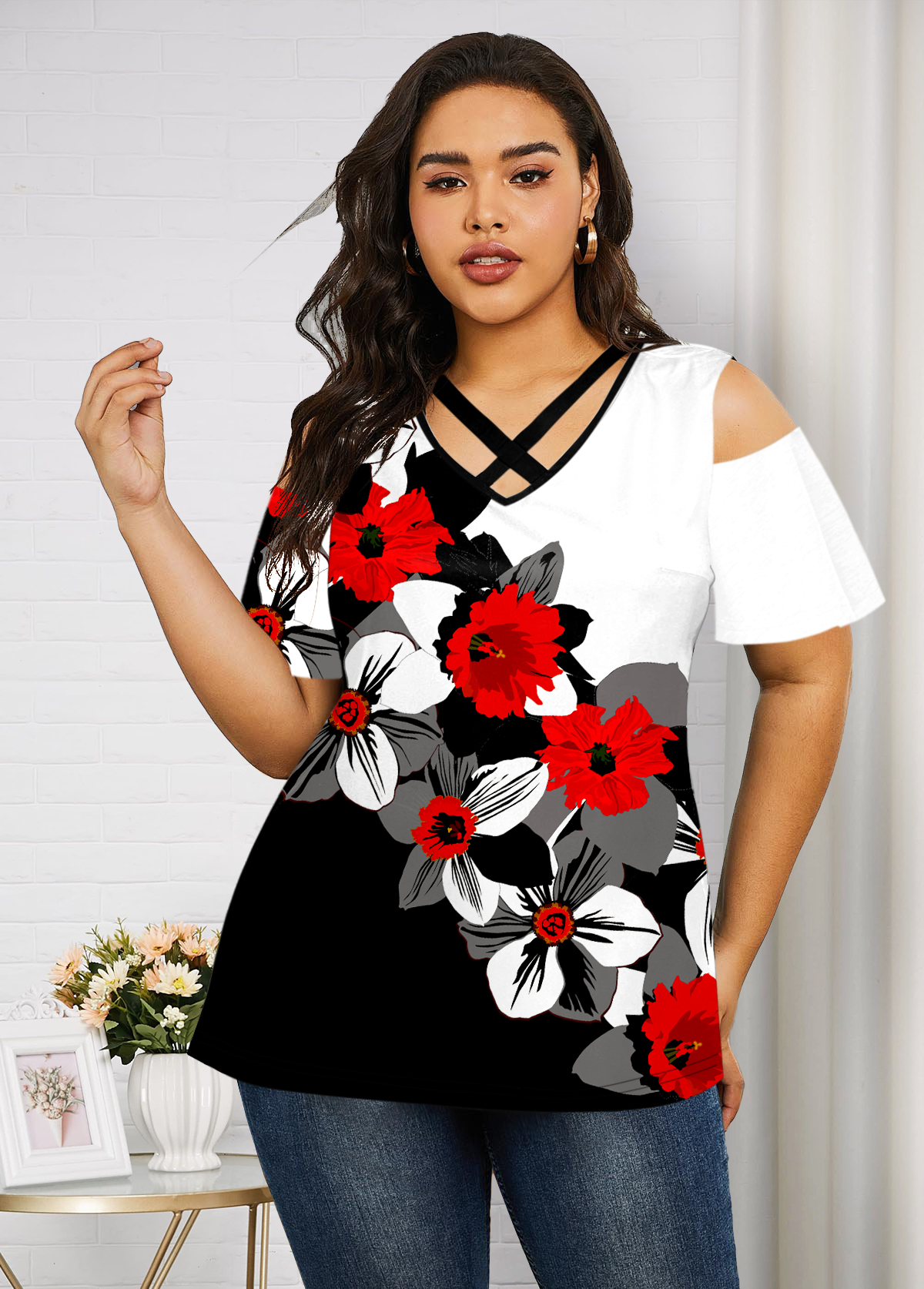 Cold Shoulder Floral Print Plus Size T Shirt